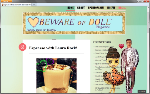 Screen shot of Bewareofdoll.com, Jul 31 issue, article 'Espresso with Laura Rock!'.