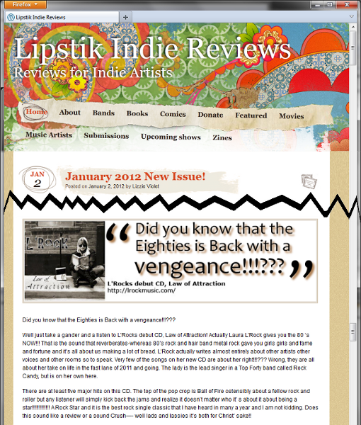 Screen shot of Lipstik Indie Web Site Reviews page, January 2 2012, featuring L'Rock.